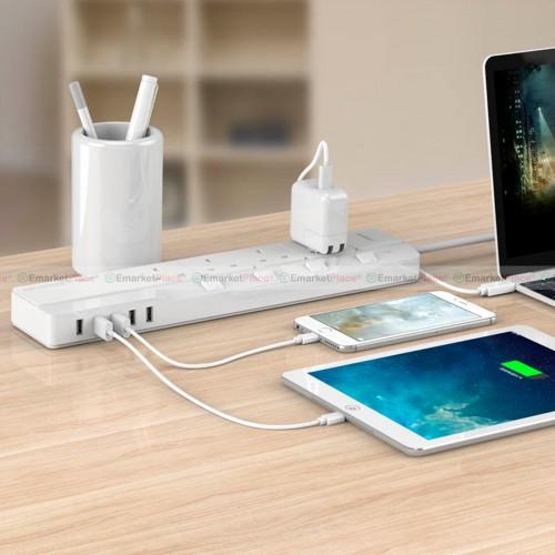 ปลั๊กไฟคุณภาพสูง ป้องกันไฟกระชาก/ไฟรั่ว USB 5 ช่อง 4 ปลั๊กไฟ สำหรับอุปกรณ์ไฟฟ้าต่างๆ