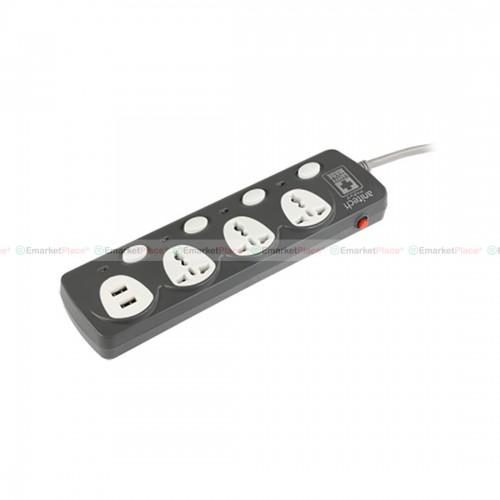 ปลั๊กไฟ ป้องกันไฟเกิน 2 ช่อง และ USB 2 ช่อง สวิตซ์เปิด-ปิด แยกควบคุมอิสระ (สีเทา)