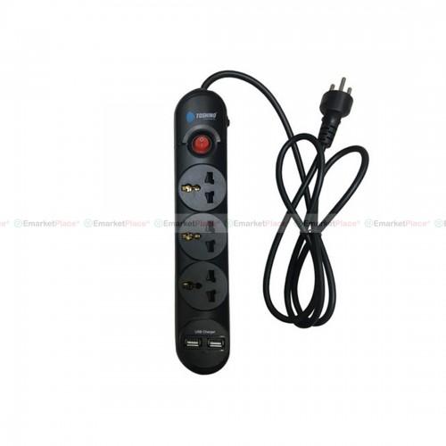 รางปลั๊กไฟป้องกันไฟกระชาก 3 ช่อง USB 2 ช่อง มีไฟ LED ใช้งานสวิทช์ ปิด-เปิด ปลอดภัย