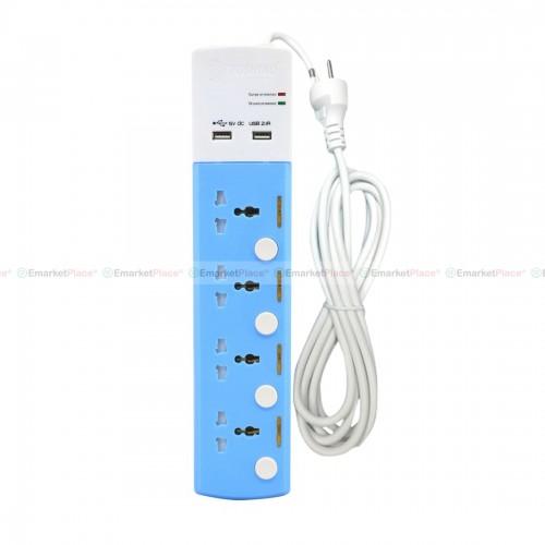 ปลั๊กไฟ USB 2.1A (2 ช่อง) ปลั๊ก 4 ช่อง สวิตช์แยกเฉพาะจุด คุณภาพดี สะดวก ปลอดภัย