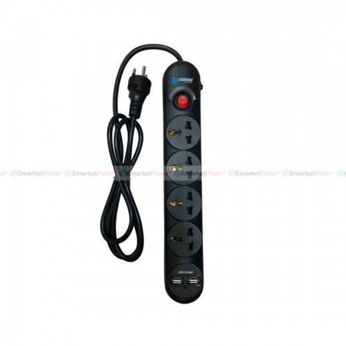 ปลั๊กไฟป้องกันไฟกระชาก ตัดไฟอัตโนมัติ 4 ช่อง USB 2 ช่อง มีไฟ LED แสดงการทำงาน สะดวก ปลอดภัย