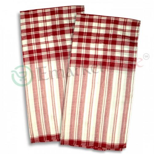 ผ้าขาวม้า ทอมือ จ.มุกดาหาร ลายสีขาวแดง สวยงาม เหมาะจะเป็นของฝาก